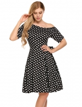 Black and White Polka Dot Back Bow Tie One Shoulder Rockabilly Swing Dress