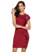 Mujeres Moda O-cuello sin mangas Ruffle Front Shift Dress