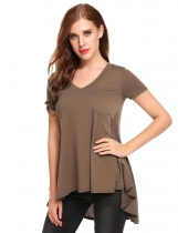Coffee V-Neck Short Sleeve Asymmetrical Pleated Hem Loose T-Shirt