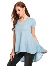 Lake blue V-Neck Short Sleeve Asymmetrical Pleated Hem Loose T-Shirt