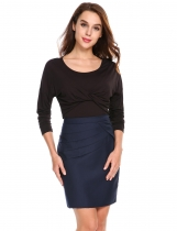 Black Ruched Twist Knot Front Long Sleeve Solid T-Shirts