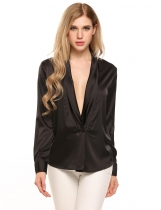 Black Long Sleeve Loose Deep V-Neck Silk-Satin Shirt
