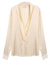 Long Sleeve Loose Deep V-Neck Silk-Satin Shirt