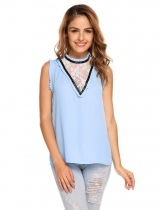 Baby Blue Stand Collar Sleeveless Lace Patchwork Loose Chiffon Tank Tops