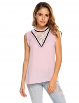 Pink Stand Collar Sleeveless Lace Patchwork Loose Chiffon Tank Tops