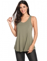 Verde do exército New Women Casual O-Neck Sleeveless Solid Backless Cross Pleated Hem Elastic Pullover Tank Tops