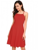 Rojo Mujeres Casual Backless sólido Spaghetti correas cóctel A-Line Cami Dress