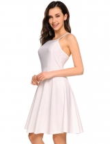 White Solid Spaghetti Straps Skater Cami Dress