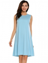 Light blue Sleeveless Solid O Neck Button Decor Shift Dress