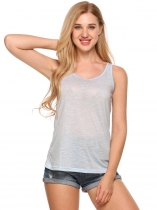 Light blue Solid O-Neck Sleeveless Fit Basic Tank Tops