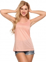 Pink Solid O-Neck Sleeveless Fit Basic Tank Tops