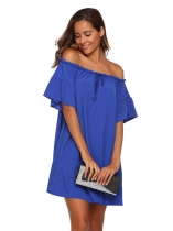 Royal Blue Off Shoulder Ruffle Sleeve Drawstring Loose Dress