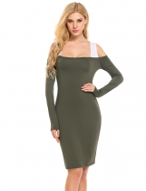 Vert d'armée Femmes Casual Collier carré Long Sleeve Cold Shoulder Patchwork Pencil Dress