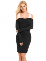 Noir Femmes Casual Collier carré Long Sleeve Cold Shoulder Patchwork Pencil Dress