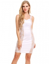 White Spaghetti Strap Satin Lace Patchwork Bodycon Dress