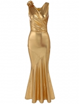 Golden Surplice Neck Sleeveless Ruched Mermaid Fishtail Dress