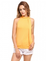 Yellow Bow Tie Collar Sleeveless Solid Tank Tops