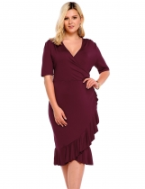 Wine red Half Sleeve Ruffles Slit Bodycon Plus Size Dress