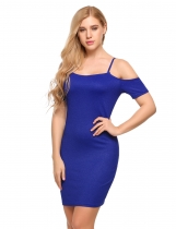 Blue Spaghetti Strap Cold Shoulder Solid Bodycon Mini Dress