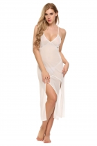 White Sexy Spaghetti Strap See Through Mesh Solid Club Dress