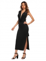 Black Backless Plunge Neck Sleeveless Solid Dress