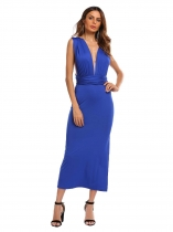 Royal Blue Backless Plunge Neck Sleeveless Solid Dress
