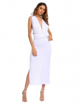 White Backless Plunge Neck Sleeveless Solid Dress