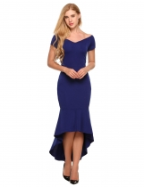 Navy blue Hug Shoulder Short Sleeve Mermaid Asymmetrical Dress