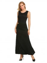 Noir O-Neck Sans manches Solid Side Cut Out Full Length Maxi Robe de soirée