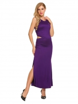 Purple O-Neck Sleeveless Solid Side Cut Out Full Length Maxi Evening Dress