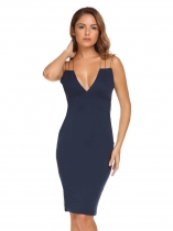 Royal Blue Spaghetti Strap Sleeveless Solid Bodycon Slim Pencil Dress