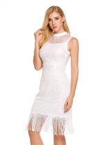 White Stand Neck Sleeveless Lace Patchwork Tassel Slim Dress