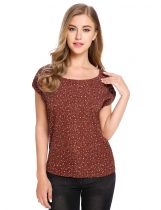 Brown Short Cuffed Sleeve Floral Prints O-Neck Pullover Chiffon Blouse