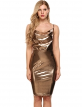 Golden Sleeveless Glitter Bodycon Spaghetti Strap Dress