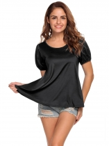 Black O-Neck Lantern Short Sleeve Solid T-Shirt