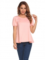 Pink O-Neck Lantern Short Sleeve Solid T-Shirt
