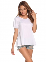 White O-Neck Lantern Short Sleeve Solid T-Shirt