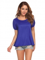 Royal Blue O-Neck Lantern Short Sleeve Solid T-Shirt