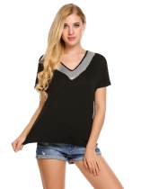 Black Sequins V-Neck Patchwork Short Sleeve T-Shirts