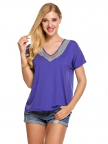 Blue Sequins V-Neck Patchwork Short Sleeve T-Shirts
