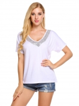 White Sequins V-Neck Patchwork Short Sleeve T-Shirts