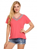 Red Sequins V-Neck Patchwork Short Sleeve T-Shirts