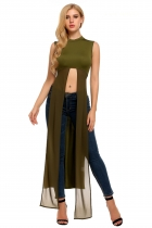 Verde do exército Mulheres Moda Stand Neck Sleeveless Patchwork Long Slit Tops