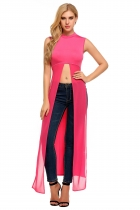 Rose red Solid Stand Neck Sleeveless Long Slit Tops