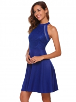 Blue Sleeveless Lace O-Neck Pleated Dress