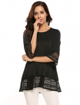 Black Flare Sleeve O Neck Lace Splicing Patchwork Sweet Loose T-Shirt