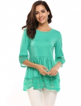 Green Flare Sleeve O Neck Lace Splicing Patchwork Sweet Loose T-Shirt
