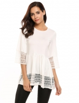 White Flare Sleeve O Neck Lace Splicing Patchwork Sweet Loose T-Shirt