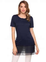 Blue O-Neck Short Sleeve Mesh Patchwork Button Tops