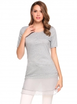 Grey O-Neck Short Sleeve Mesh Patchwork Button Tops